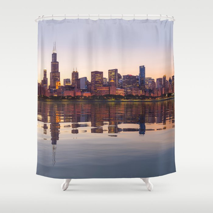 Panorama of the City skyline of Chicago Shower Curtain
