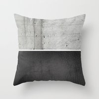 Throw Pillows featuring Raw Concrete and Black Leather by cafelab