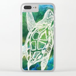 Cosmic Emerald Turtle Guardian Clear iPhone Case