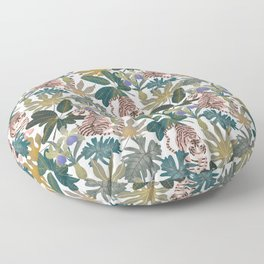 Pattern with tigers and leaves Floor Pillow