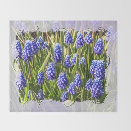 Grape hyacinths muscari Throw Blanket