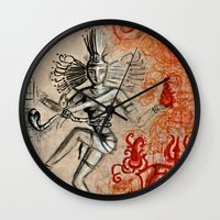 shiva Wall Clocks featuring Shiva by Maithili Jha