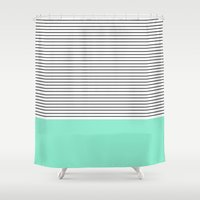 mint Shower Curtains featuring Minimal Mint Stripes by Allyson Johnson