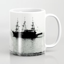 ships on a calm sea black and white Coffee Mug