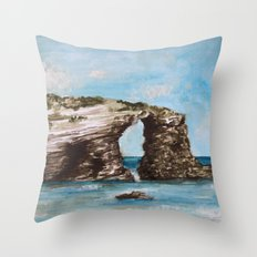 Playa de las catedrales Throw Pillow