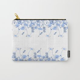 Wild Flowers in Blue and White Carry-All Pouch
