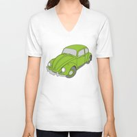 vw V-neck T-shirts featuring VW Beetle by tuditees