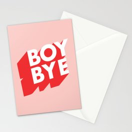 Boy Bye funny poster typography graphic design in red and pink home decor Stationery Cards