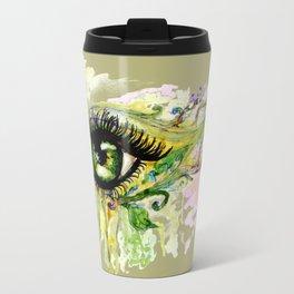 Green eye with sakura Travel Mug
