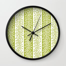 Mid Century Modern Berry Vine Stripes Chartreuse Wall Clock