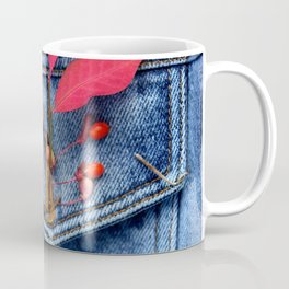 Jeans jacket with red leaves Coffee Mug