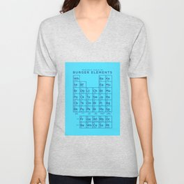 Periodic Table of Burger Elements - Cyan Unisex V-Neck