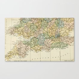 England and Wales Vintage Map Canvas Print