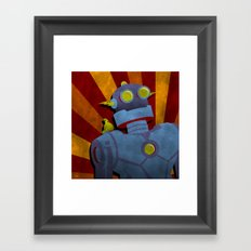 Retro Robot with Yellow Bird Framed Art Print
