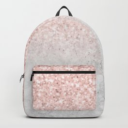 She Sparkles Rose Gold Pink Concrete Luxe Backpack