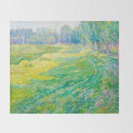 Václav Radimský (1867-1946) On the Dike Colorful Impressionist Landscape Oil Painting Throw Blanket