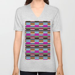 Tribal Stripe Kilim in Multi Unisex V-Neck