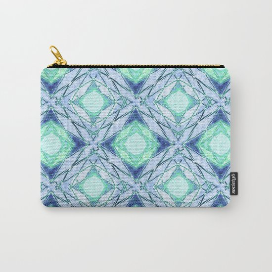 Abstract geometric pattern in blue, light blue,green, colours. Carry-All Pouch