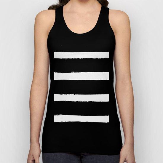 Black & White Paint Stripes by Friztin Unisex Tank Top