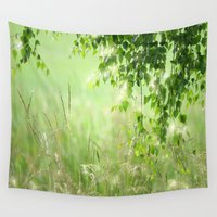 birch Wall Tapestries featuring Birch leaves by Tanja Riedel