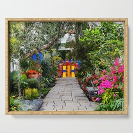 Casa Azul Mexican Landscape color photograph from the Blue House of Coyoacán  Serving Tray