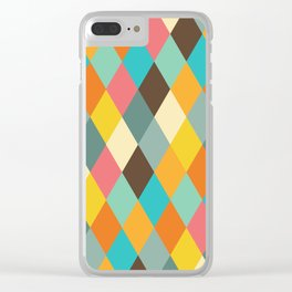 Colorful Retro Shapes Clear iPhone Case