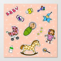 stickers Canvas Prints featuring For Mommy stickers by Lisidza's art