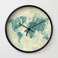 vintage map Wall Clocks featuring World Map Blue Vintage by City Art Posters