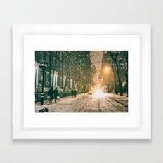 Winter - New York City - Snows Falls - Washington Square Framed Art Print