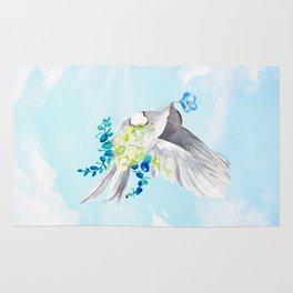 Little Bird Carries Blue Flower Rug