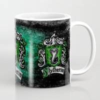mandie manzano Mugs featuring Slytherin team flag iPhone 4 4s 5 5c, ipod, ipad, pillow case, tshirt and mugs by Three Second