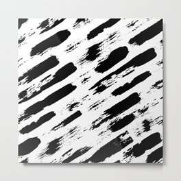 Black brush stripes rain Metal Print