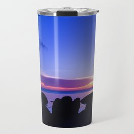 Blue sunset by rock beach Travel Mug