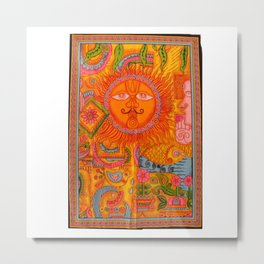 Sun Face Tapestry Metal Print