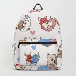 Vector cute animal hug hearts Backpack