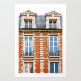 Brickwork and Window Balconies. Paris, France Art Print