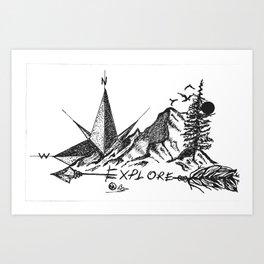 """Explore More"" Hand-Drawn by DarkMountainArts Art Print"