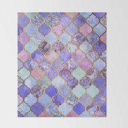 Royal Purple, Mauve & Indigo Decorative Moroccan Tile Pattern Throw Blanket