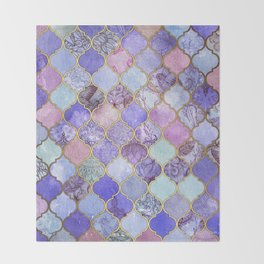 Royal Purple, Mauve & Indigo Decorative Moroccan Tile Pattern Throw Blanket