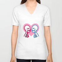mouth V-neck T-shirts featuring Mouth To Mouth by Eat Yr Ghost