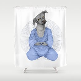Almost meditating dog 2 Shower Curtain