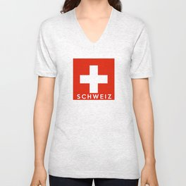 Switzerland Swiss country flag Schweiz german name text Unisex V-Neck