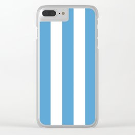 Carolina blue - solid color - white vertical lines pattern Clear iPhone Case