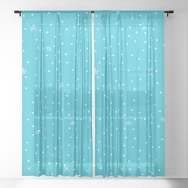 flying dandelion seeds simple Christmas seamless pattern and Snow White Confetti on Blue Scuba Background Sheer Curtain