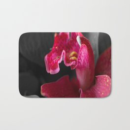 Solo Red Orchid on Grey Background #decor #society6 Bath Mat