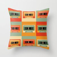 cassette Throw Pillows featuring cassette by vitamin