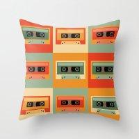cassette Throw Pillows featuring cassette by vitamin