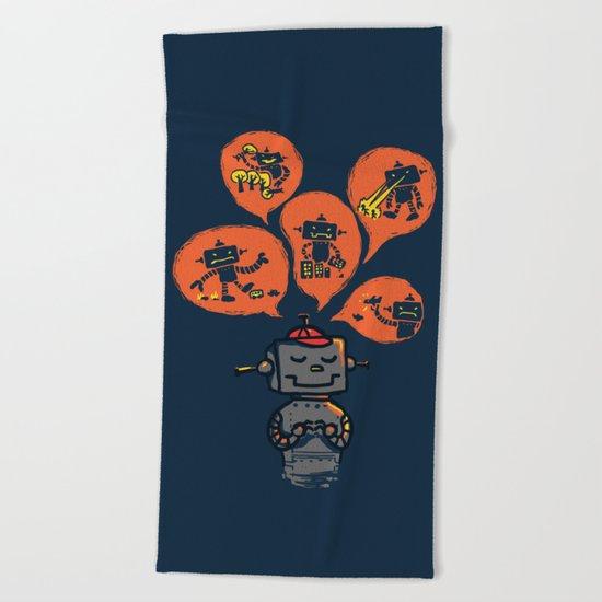 When I grow up - an evil robot dream Beach Towel