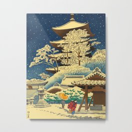 Japanese Woodblock Print Vintage Asian Art Colorful woodblock prints Shrine At Night Snow White Metal Print