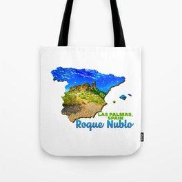 Roque Nublo Las Palmas Spain Gran Canaria Canary Islands Hill Green Tree Blue Tote Bag